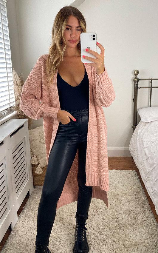 Mia Tie Front Long Length Cardigan