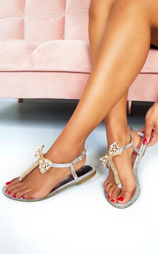Michaela Embellished T Bar Sandals