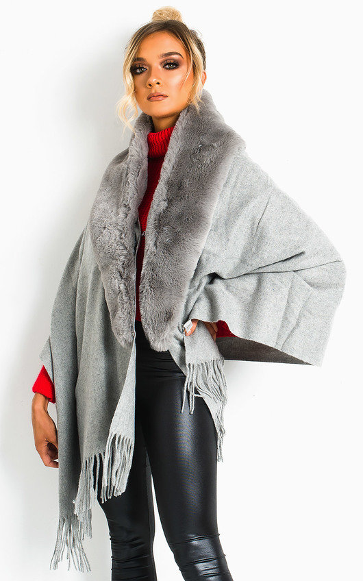 Michelle Faux Fur Collar Trim Cape