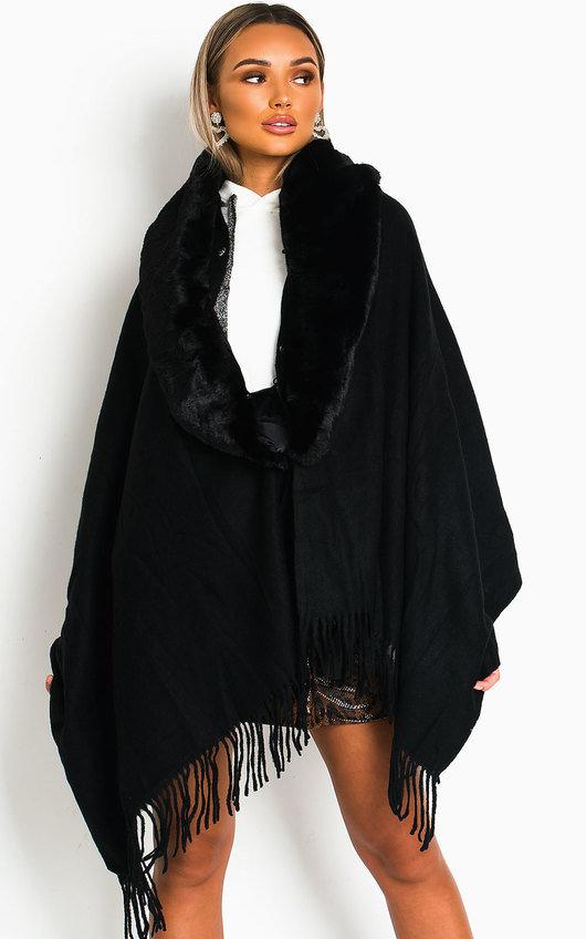 Michelle Faux Fur Collar Trim Cape