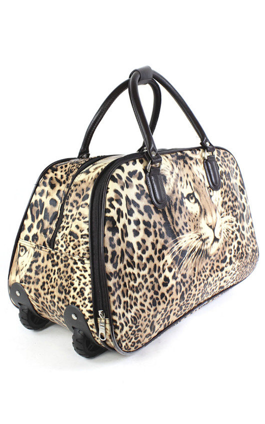 Mila Leopard Travel Trolley Bag