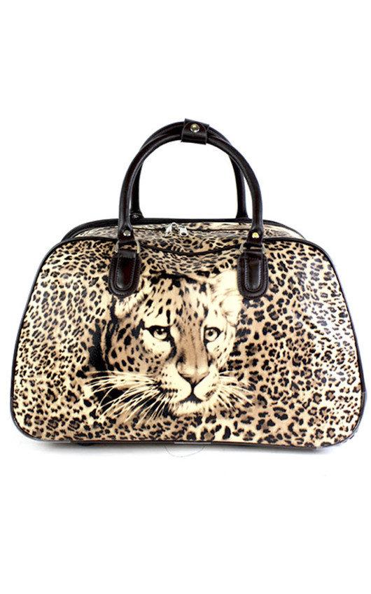 Mila Leopard Travel Trolley Bag