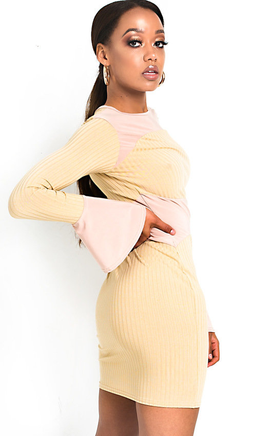Mila Ribbed Bell Sleeve Bodycon Dress