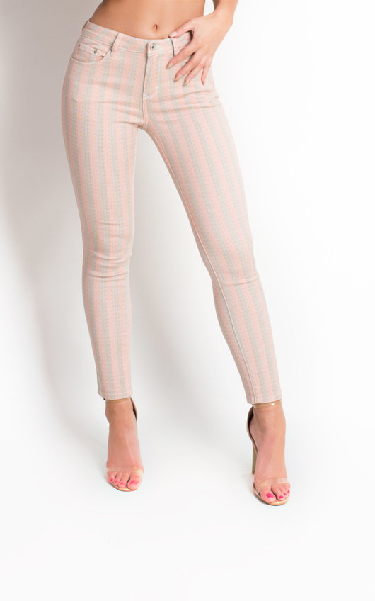 Miley Striped Mid Rise Skinny Jeans