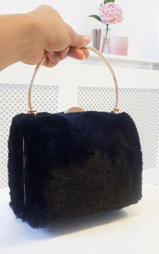 Mills Faux Fur Ring Handle Clutch Bag