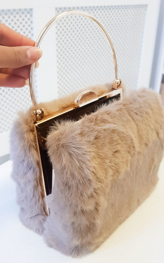 Mills Faux Fur Ring Handle Clutch Bag