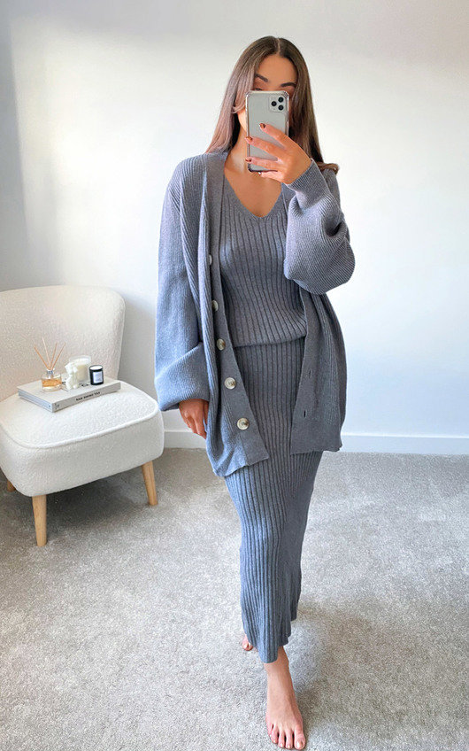 Mimi Knitted Longline Dress & Cardigan Co-Ord