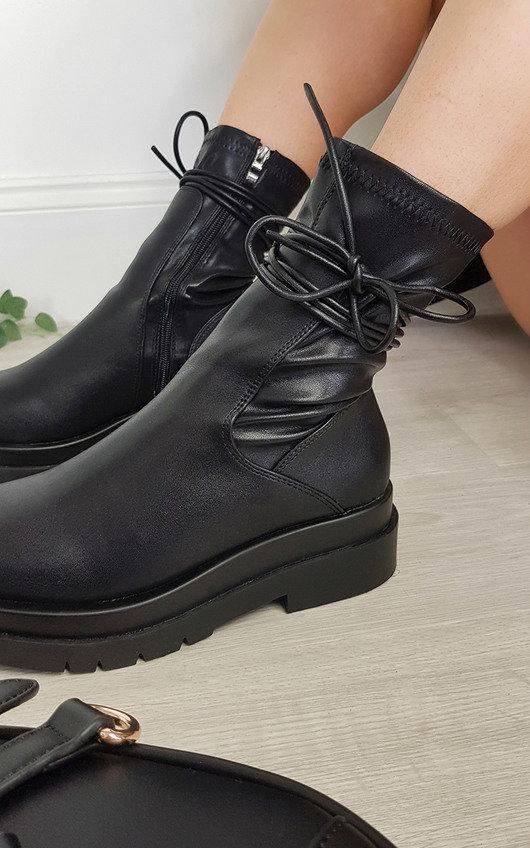 Mina Chunky Lace Up Zipped Boots