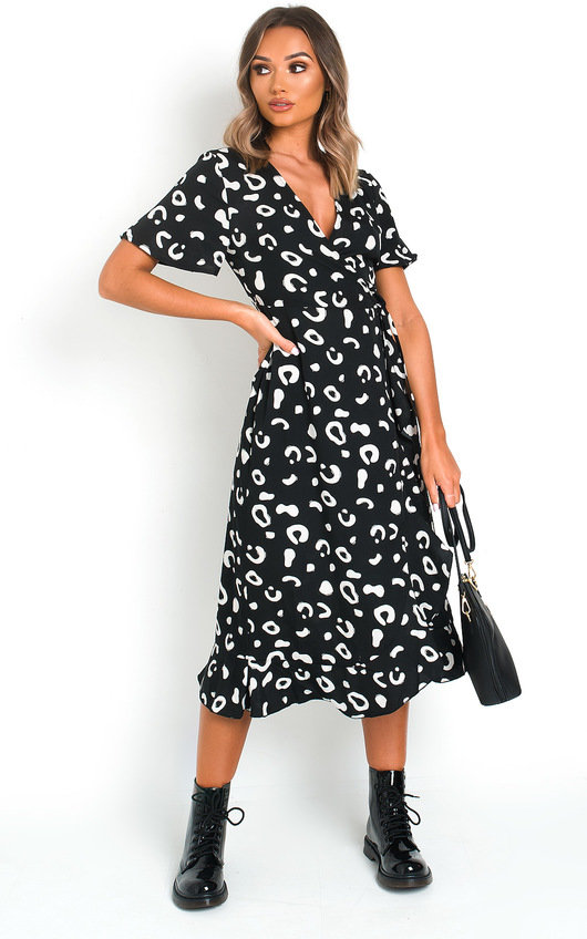 Mina Wrap Front Midi Dress