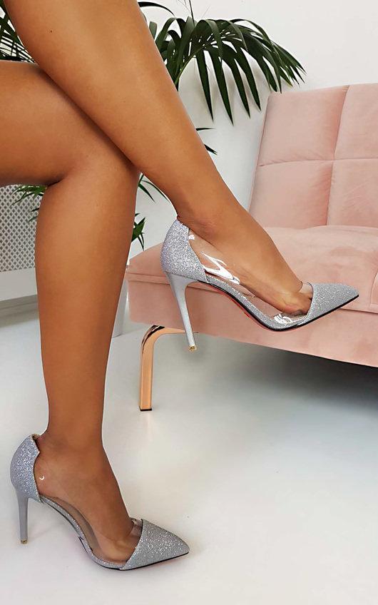 Mindi Glitter Perspex Court Heels