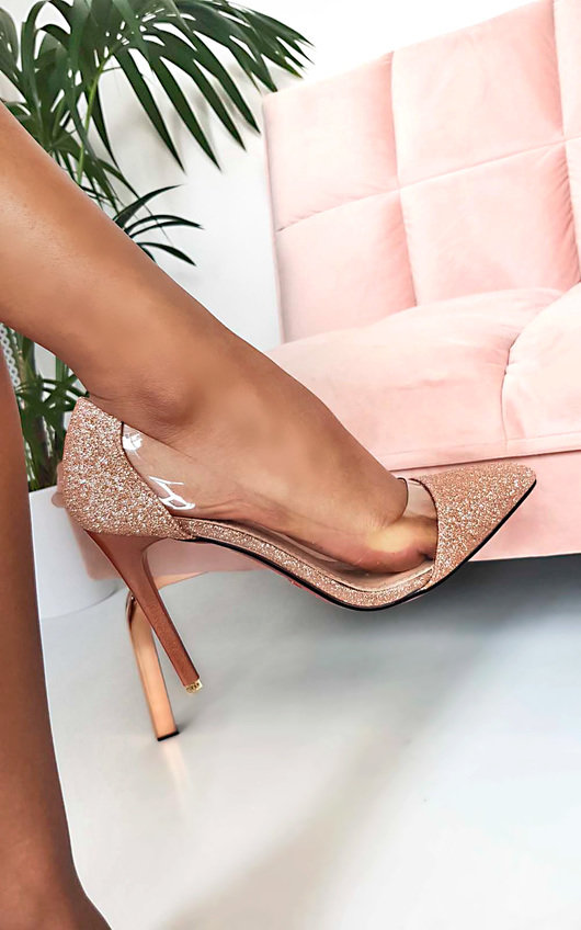 933f7231020 Mindi Glitter Perspex Court Heels in Champagne