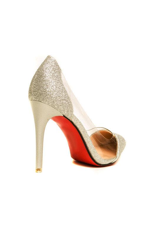 96b0840475c Mindi Glitter Perspex Court Heels in Silver