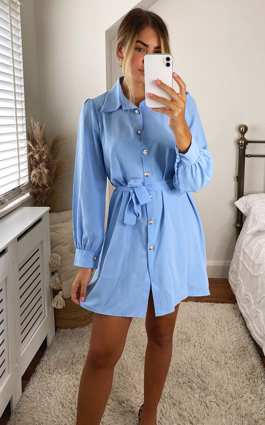 Mindy Belted Puff Sleeve Shirt Dress with bag