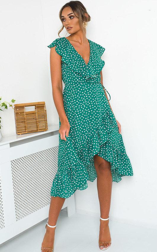 Mindy Polka Dot Wrap Midi Dress