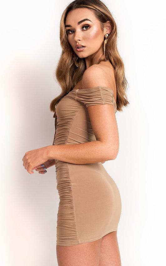 c41af46b45837 Mindy Ruched Off Shoulder Bodycon Dress in Camel