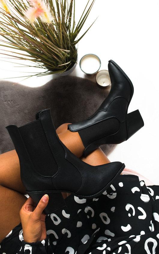 Miranda Cowboy Block Heel Ankle Boots
