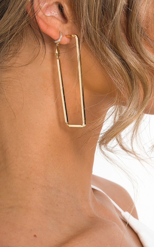 Miranda Statement Rectangle Hoop Earrings