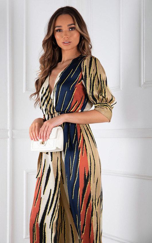 Misona Tie Waist Wrap Printed Midi Dress