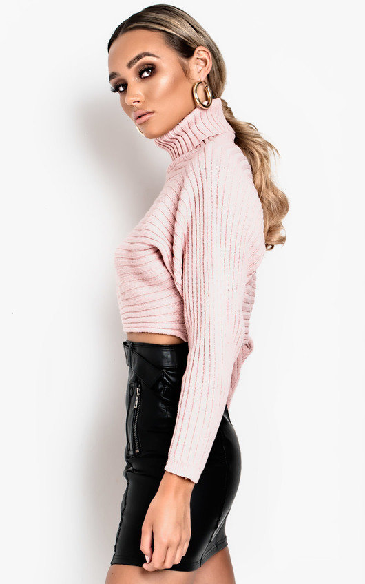 dfc095f70a7 Maarah Poloneck Knit Crop Jumper in Pink | ikrush