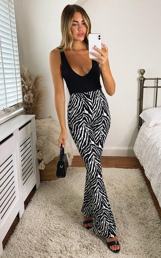 Misty Zebra Print High Waist Flared Trousers