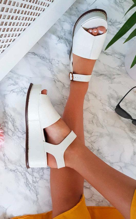 Miya Faux Leather Flatform Sandals