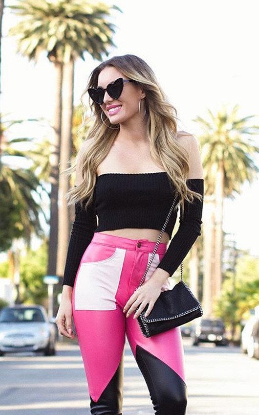 Miyka Biker Block Faux Leather Trousers