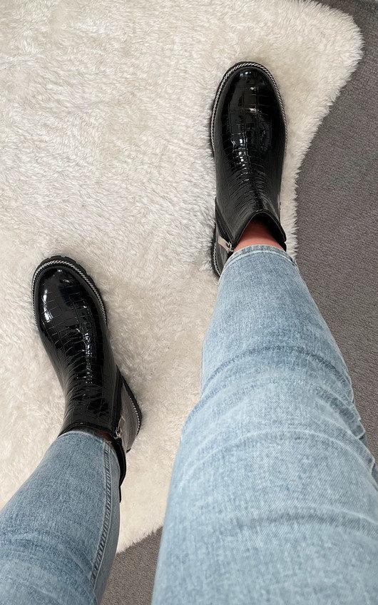 Moesha Croc Print Patent Ankle Boots