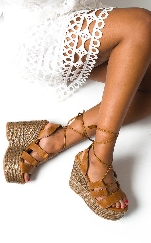 Molly Lace Up Wedged Heels