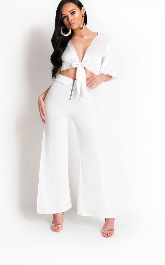 37cf4ab8570619 Molly Tie Flared Sleeved Satin Crop Top in White | ikrush