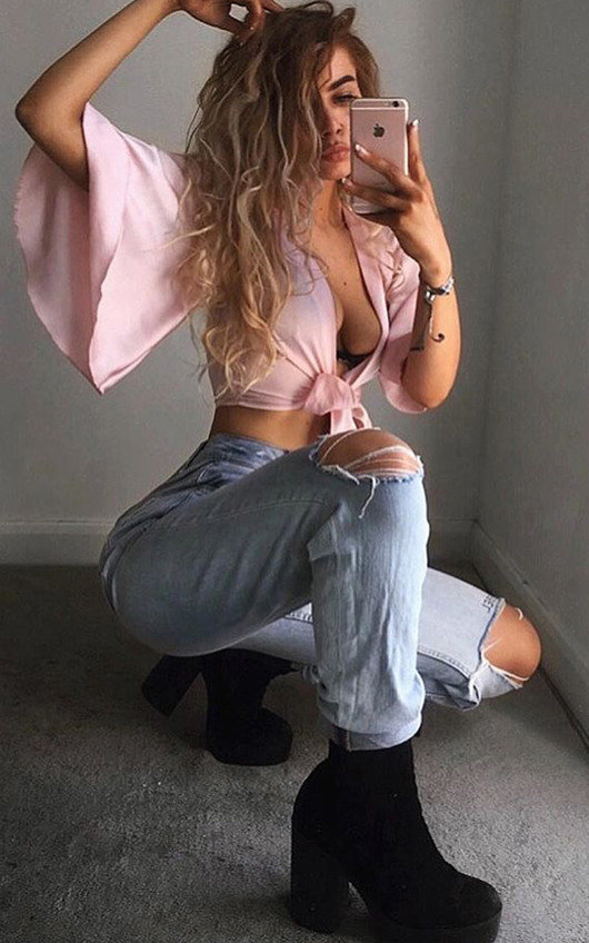 Molly Tie Flared Sleeved Satin Crop Top