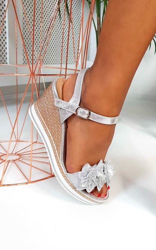 Monah Flower Braided Wedged Heel