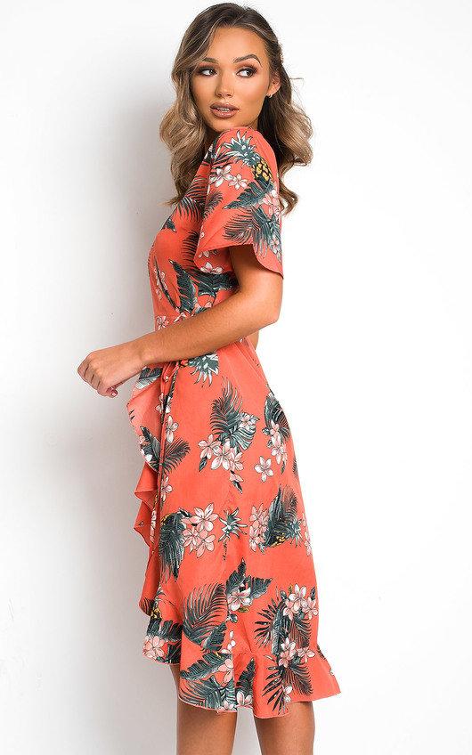 Monah Printed Frill Midi Dress