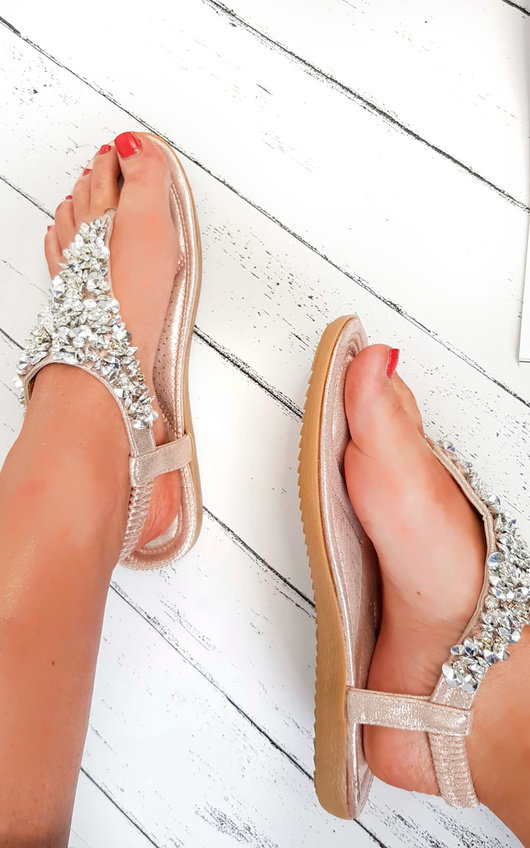 5c244535a3f422 Monika Clustered Sequin Embellished Sandals in Rose gold