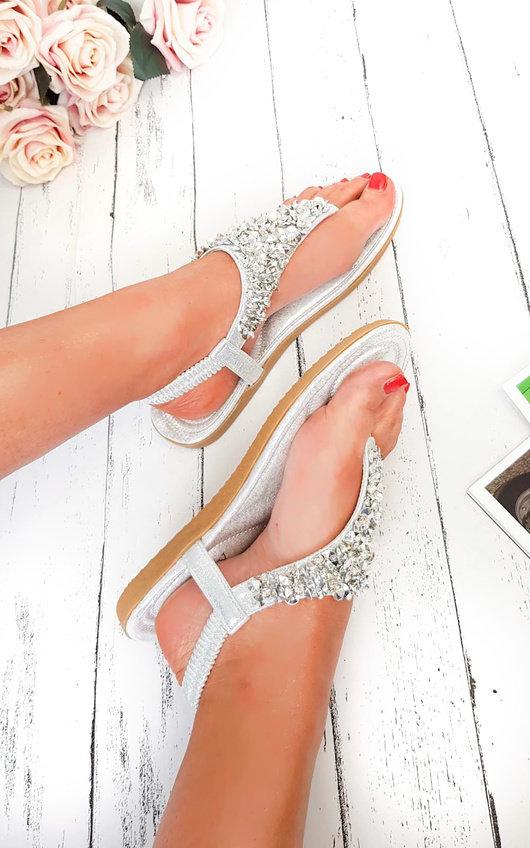 Monika Clustered Sequin Embellished Sandals