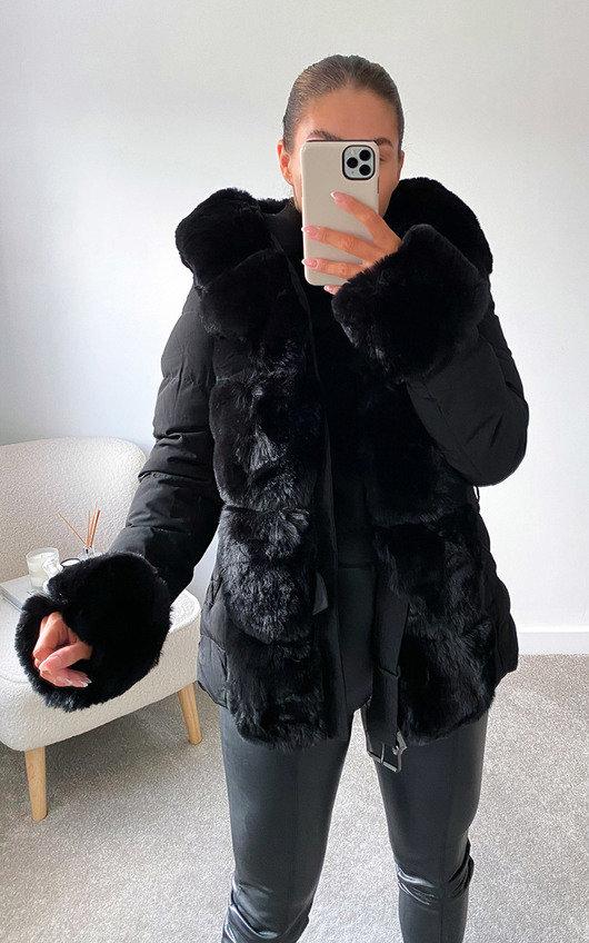 Monikh Faux Fur Belted Coat