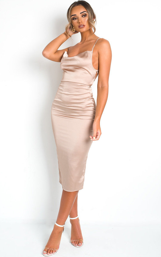 Monikh Satin Backless Midi Dress