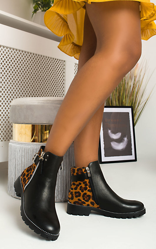 Mora Buckle Faux Leather Ankle Boots