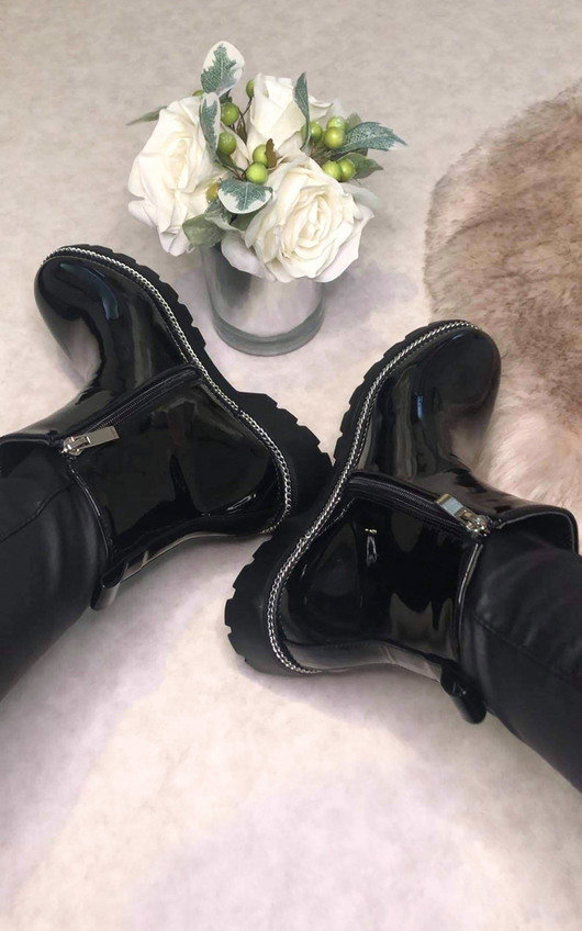 Morgan Patent Faux Leather Ankle Boots