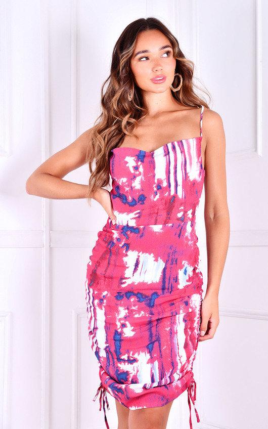 Morgan Scoop Neck Tie Up Side Printed Mini Dress