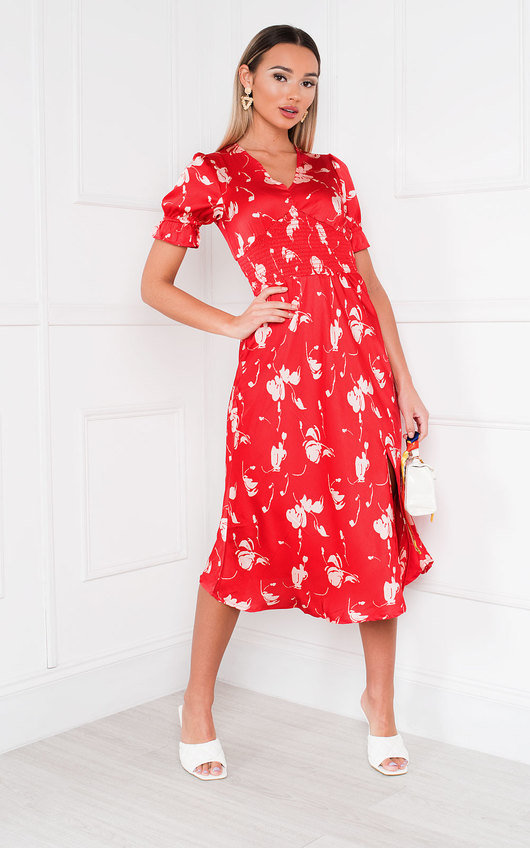 Mulan Patterned Frill Midi Dress
