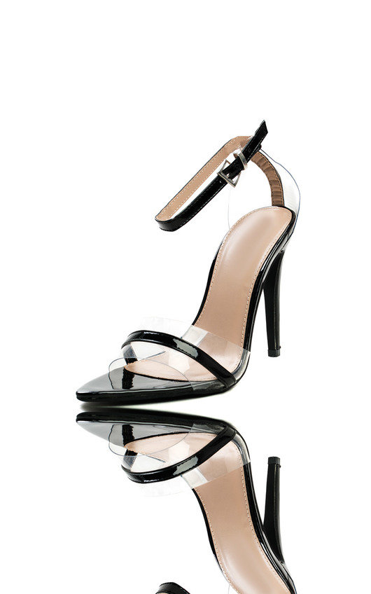 f2d95ff345c Mya Perspex Barely There Pointed Heels in Black