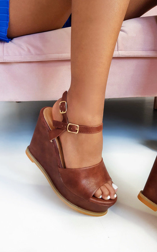Myla Peep Toe Faux Leather Wedges