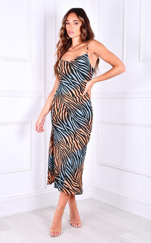 Nadia Thigh Split Printed Midi Dress