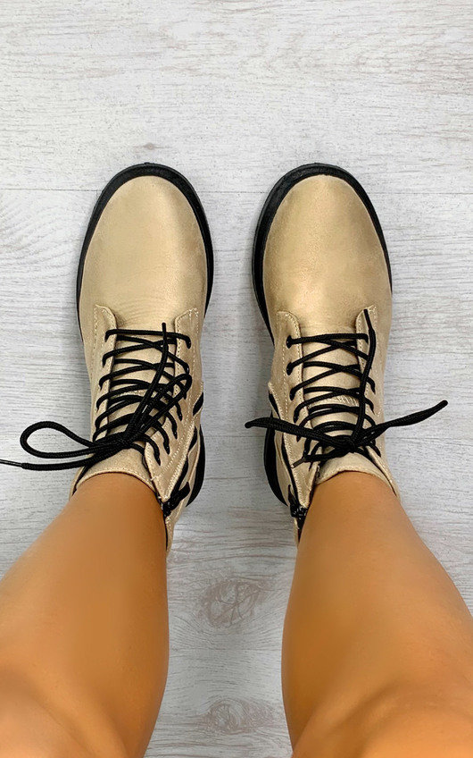 Nadine Faux Suede Lace Up Boots