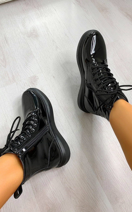 Nadine Lace Up Patent Boots
