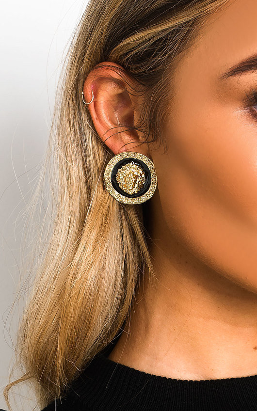 Nala Stud Circle Lion Earrings