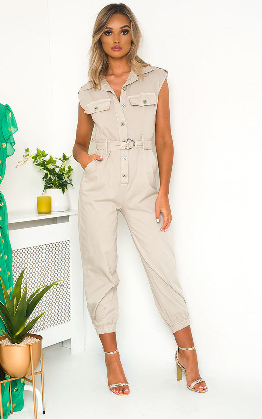 Nala Tie Waist Button Up Utility Jumpsuit