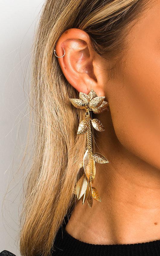 Nalia Leaf Statement Drop Earrings