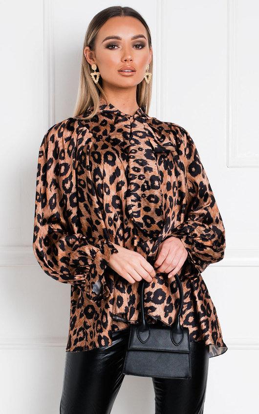 Nancy Tie Front Leopard Print Blouse