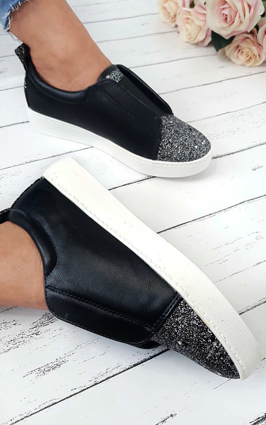Nanna Open Slip On Glitter Trainers